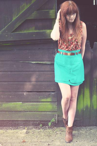turquoise blue asos skirt - brown M&S boots - burnt orange Topshop vest