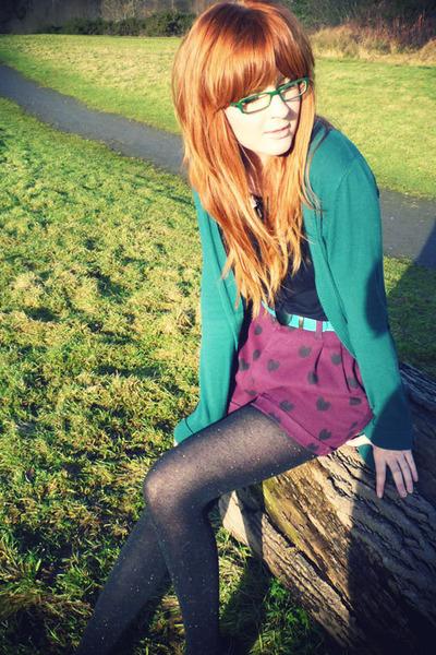 black Tatty Devine necklace - maroon H&M shorts - teal Topshop cardigan