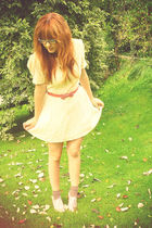 white asos dress - pink Miss Selfridge belt - beige Schuh shoes