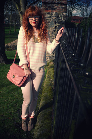 coral Topshop bag - light pink River Island jeans - pink H&M sweater