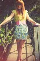 green top - blue Matalan skirt - pink asos belt