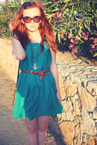 teal dress - bronze H&M belt - gold Matalan necklace