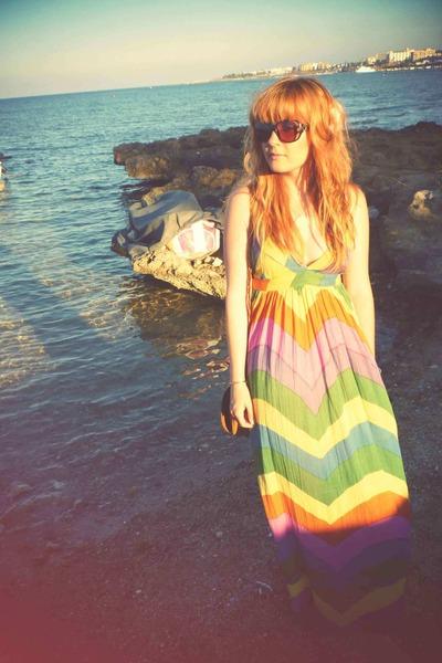 orange new look dress - brown ted baker sunglasses - brown Topshop shoes