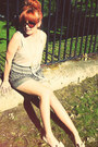 Dark-brown-matalan-shorts-eggshell-pumps-eggshell-vest