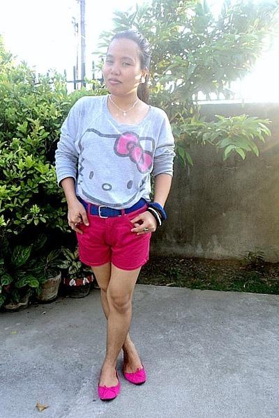hot pink shorts - hot pink bow Solemate flats