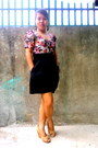 High-waisted-shorts-floral-h-m-top-h-m-wedges