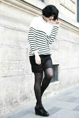 black Sheinside sweater - black zaful skirt