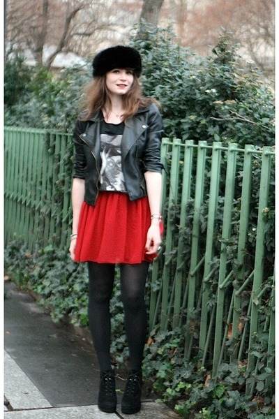 black Sheinside jacket - brick red American Apparel skirt