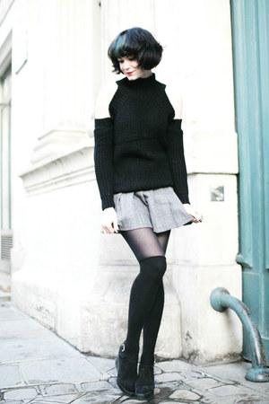 black zaful sweater - heather gray sammydress skirt