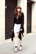 black K intimates bodysuit - heather gray Naf Naf skirt - black Kookai sandals