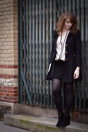black H&M skirt - black Marc Jacobs coat - beige Zara blouse - black no brand sh