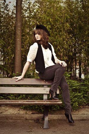black Cheap Monday jeans - white vintage blouse