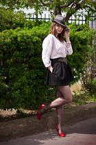 black Chantal Thomass shorts - white vintage blouse - gray vintage hat - red AND