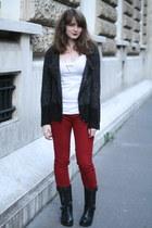 black Les Tropeziennes boots - brick red red pants freeman porter pants