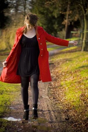 red vintage coat - black ANDRE shoes - black H&M dress