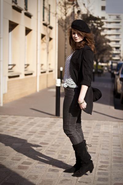 black vintage boots - black Yohji Yamamoto jacket - white H&M blouse - gray H&M
