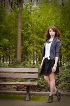 black Manoush dress - white SANDRO t-shirt - gray vintage jacket - gray asos sho