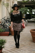 black Marks&Spencers top - heather gray monoprix skirt - black Bata heels