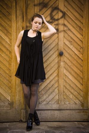 black Zara blouse - gray H&M skirt - black ANDRE shoes