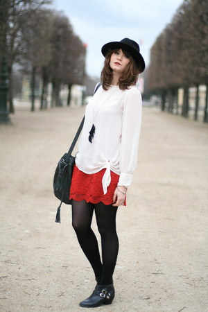 red Newlook skirt - white blouse