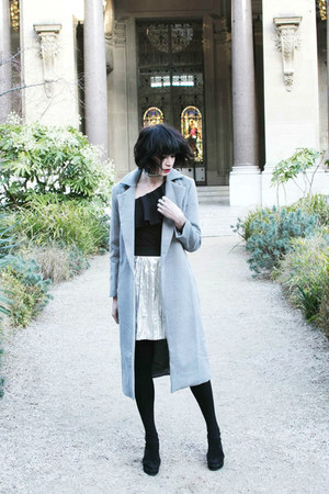 heather gray Rosegal coat - black GAMISS bodysuit - silver zaful skirt