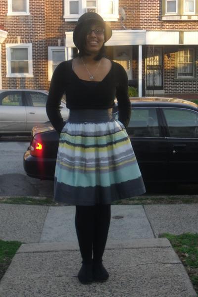 striped H&M skirt - black Target hat - black Forever 21 sweater