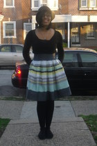 striped H&M skirt - black Target hat - black Forever 21 sweater