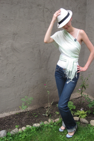 H&amp;M hat - Loehmans scarf - forever 21 top - J Brand jeans - Keds shoes