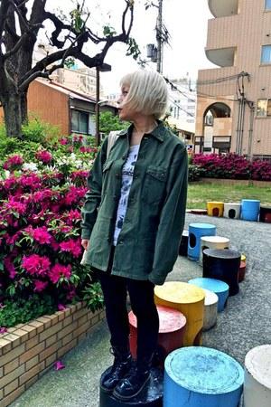 green military vintage jacket - black Dr Martens shoes - white t-shirt
