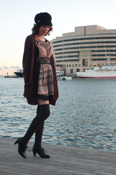 black Pepe Jeans dress - black Camilas shoes - black Oysho socks - purple Massim
