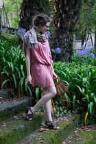 bubble gum forte forte dress - brown YOKANA scarf - dark brown gifted bag - brow