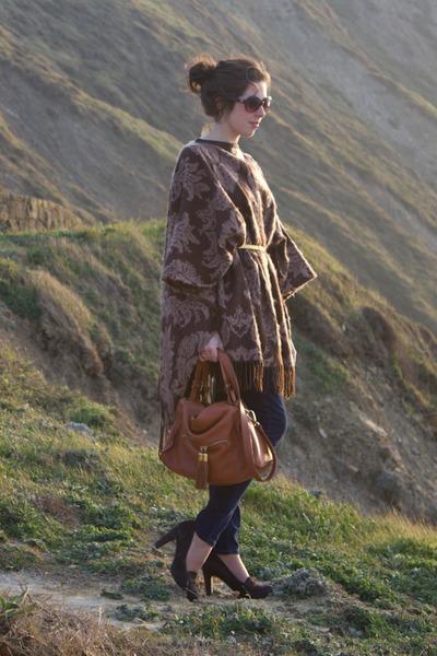 SANDRO bag - Gap jeans - poncho Marithe Francois Girbaud jacket - unisa heels