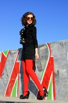black Mango sweater - black H&M shirt - red vintage sunglasses - black Stradivar