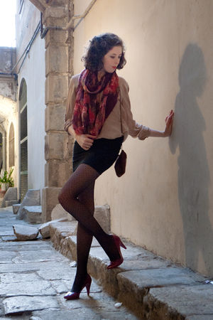 pink Stradivarius shoes - black pull&bear tights - black Zara skirt - pink Zara