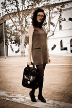 dark brown SANDRO dress - black Zara shoes - dark gray Oysho tights