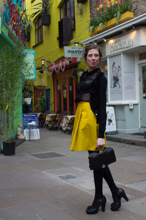 yellow COS skirt - black Mango shirt - black Mango cardigan