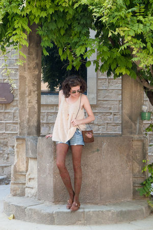 beige COS shirt - brown Lucky one bag - blue rossodisera shorts - brown Topshop