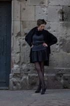 dark gray Mango shoes - black paul smith black coat - dark gray Mango sweater -