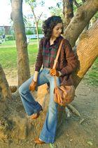 brown garque shoes - purple Uterqe jacket - blue Uterqe jeans - brown Bimba&Lola