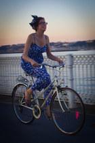 blue vintage scarf - blue Dolores Promesas romper - blue lexx moda sandals