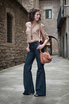 blue denim by victoria beckham jeans - brown Bimba&Lola bag - pink Zara shirt -