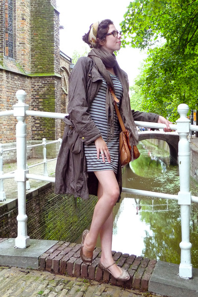 gray H&M dress - brown Bimba&Lola - beige Zara shoes - brown Antonio Mir glasses