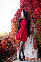 red Topshop dress - black Chie Mihara shoes - black Mango cardigan