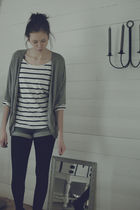 gray H&M cardigan - blue H&M shorts - white Bik Bok top