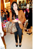 brown CMG bag - bronze brown Zara blazer - black SM Dept Store top