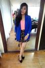 Royal-blue-forever-21-blazer-pink-forever-21-top-forever-21-skirt