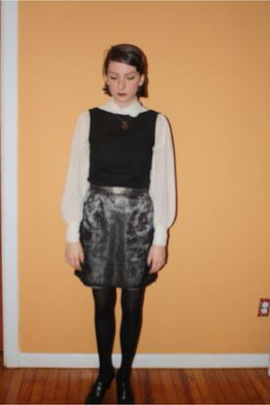 vintage blouse - vintage top - vintage skirt - Payless heels