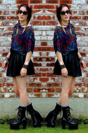 leather skirt Forever 21 skirt - Demonia heels