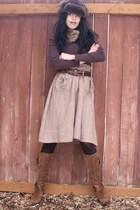 brown brown furry bastard hat - brown Old Navy shirt - brown H&M skirt - brown N