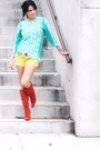 Burnt-orange-bamboo-boots-turquoise-blue-thrifted-vintage-sweater-yellow-f21